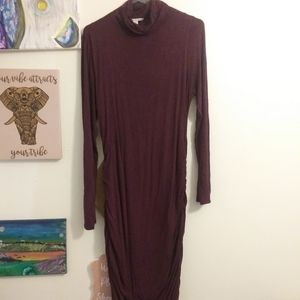 Purple mock neck maxi dress. Thick material